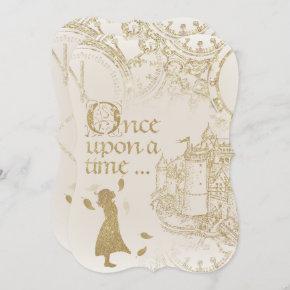 Fairy Tale Princess Theme Gold Glitter Invitation