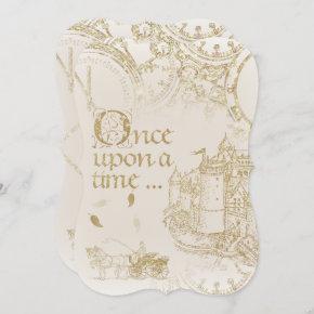 Fairy Tale Theme Castle Carriage Gold Glitter Invitation