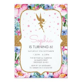 Fairy themed birthday party Invitations