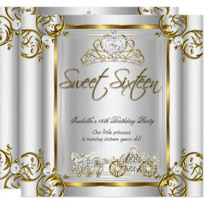 Fairytale Sweet 16 16th Birthday Gold Silver Invitation