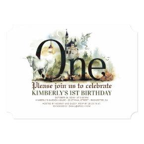 Fairytale Unicorn Dragon and Castle 1st Birthday Invitation