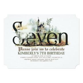 Fairytale Unicorn Dragon Magic Castle 7th Birthday Invitation