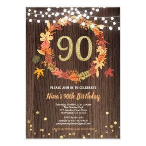 Fall 90th birthday thanksgiving wreath wood gold invitation