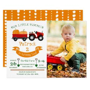 Fall Autumn Pumpkin Tractor Farm Photo Birthday Invitations