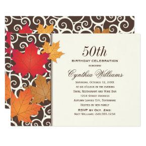 Fall Birthday Celebration | Autumn Leaves Invitation