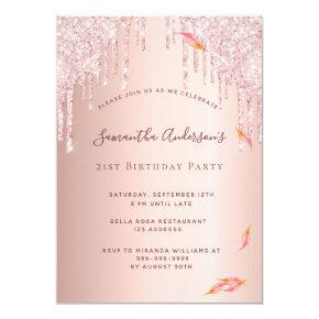 Fall birthday party rose gold glitter drips invitation