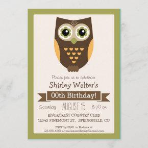 Fall Colors Owl, Adult Birthday Party Invitation