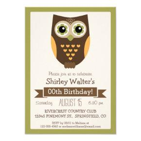 Fall Colors Owl, Adult Birthday Party Invitations