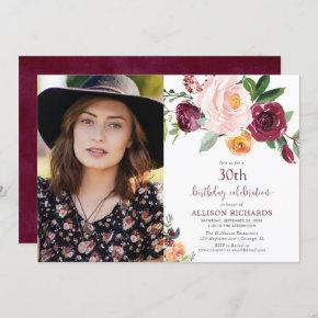Fall floral burgundy blush pink birthday photo invitation
