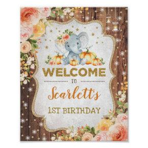 Fall Floral Elephant 1st Birthday Autumn Welcome Poster