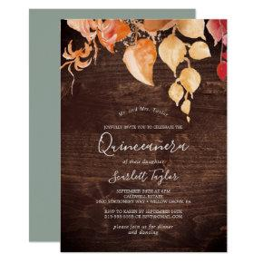 Fall Leaves | Rustic Brown Wood Quinceañera Invitation