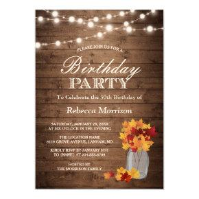 Fall Leaves Rustic String Lights Birthday Party Invitations