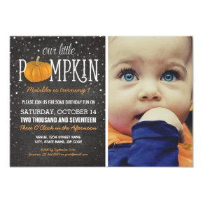Fall Little Pumpkin Photo 1st Birthday Party Invitations