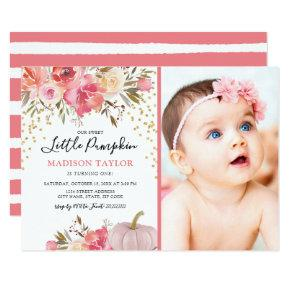 Fall Our Little Pumpkin 1st Birthday Party Invitations