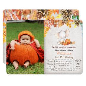 Fall Pumpkin and Elephant 1st Birthday Invitation