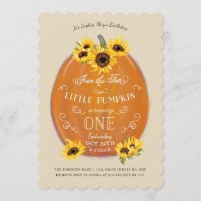Fall Pumpkin and Sunflowers First Birthday Die Cut Invitation