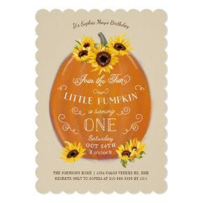 Fall Pumpkin and Sunflowers First Birthday Die Cut Invitation