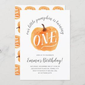 Fall Pumpkin Autumn First Birthday Invitation