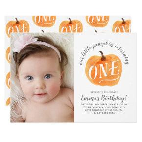 Fall Pumpkin Autumn First Birthday Invitations