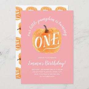 Fall Pumpkin Autumn First Birthday Pink Invitation