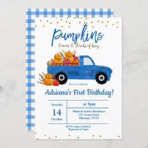Fall Pumpkin Birthday Invitation autumn blue