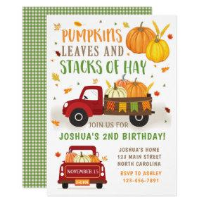 Fall Pumpkin Birthday Invitations Boy