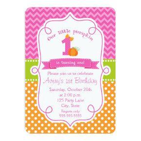 Fall Pumpkin Birthday Invitation, Girl Pumpkin Invitation