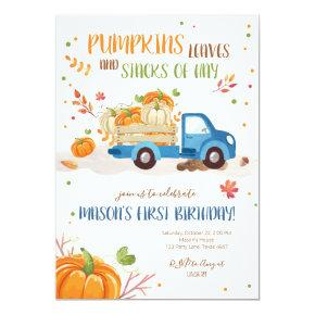 Fall Pumpkin Blue Truck Orange Green Boy Birthday Invitation