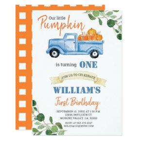 Fall Pumpkin Boy First little blue truck birthday Invitation