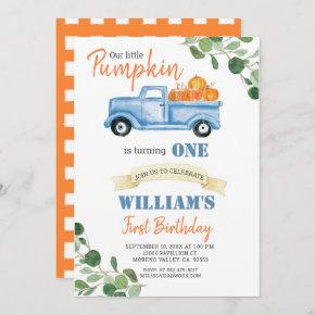 Fall Pumpkin Boy First little blue truck birthday Invitation