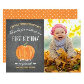 Fall Pumpkin | First Birthday Thank You with Photo Card