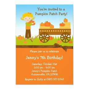 Fall Pumpkin Patch Birthday Party Invitation