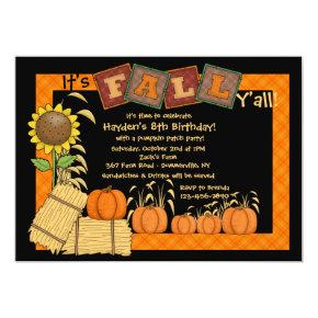 Fall Pumpkin Picking Party Invitations