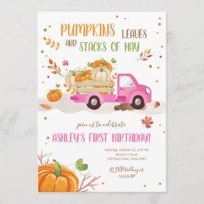 Fall Pumpkin Pink Truck Orange Green Girl Birthday Invitation