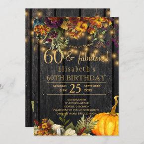 Fall rusty flowers rustic chic 60 fabulous years invitation