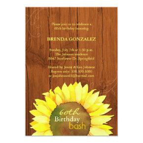 Fall Sunflowers 60th Birthday Party Card