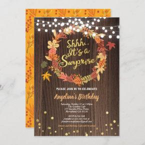 Fall surprise birthday party thanksgiving gold invitation