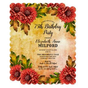 Fall Watercolor Floral 75th Birthday Party Invitation
