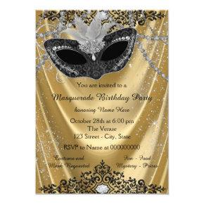 Fancy Black and Gold Masquerade Party Invitations