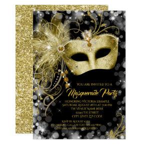 Fancy Black Gold Glitter Masquerade Party Invitation