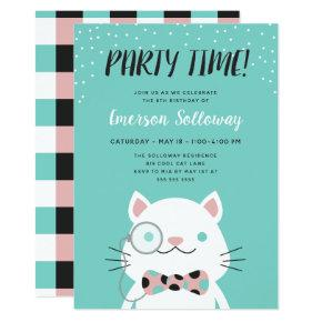 Fancy Cat Turquoise Kids Birthday Party Invitation