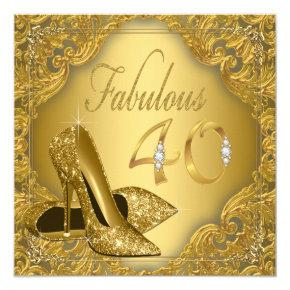 Fancy Gold High Heel Fabulous 40th Birthday Card
