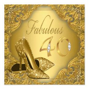 Fancy Gold High Heel Fabulous 40th Birthday Invitation