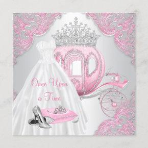 Fancy Pink Cinderella Princess Birthday Party Invitation