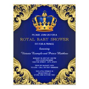 Fancy Prince Baby Shower Blue and Gold Invitation