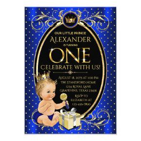Fancy Prince First Birthday Party Invitation