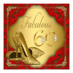 Fancy Red Gold High Heel Fabulous 60th Birthday Card