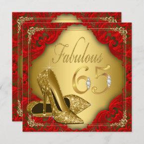 Fancy Red Gold High Heel Fabulous 65th Birthday Invitation