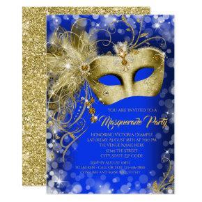 Fancy Royal Blue Gold Glitter Masquerade Party Invitation