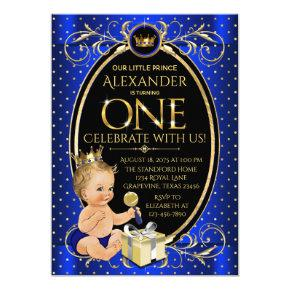 Fancy Royal Prince First Birthday Party Invitation